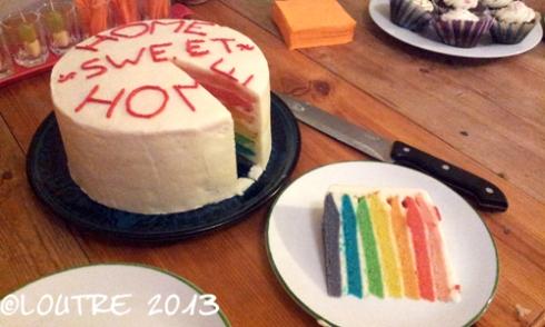 Deuxième commande pour une crémaillère : mon premier rainbow cake !